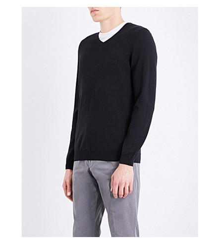 BOSS V领羊毛毛衣 (黑色