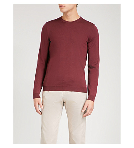 BOSS Fine-knit wool jumper (Dark+red
