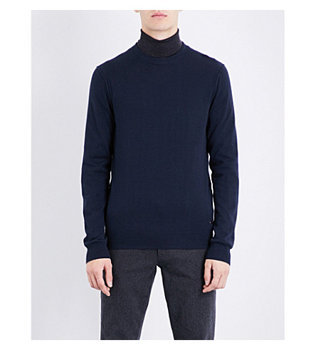 BOSS ORANGE Turtleneck cotton-blend jumper (Dark+blue