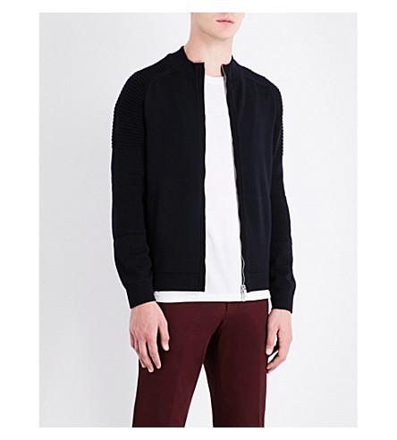 BOSS Two-way zip fastened wool jacket (Black