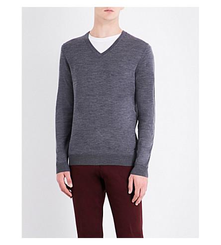 BOSS V-neck knitted wool jumper (Medium+grey