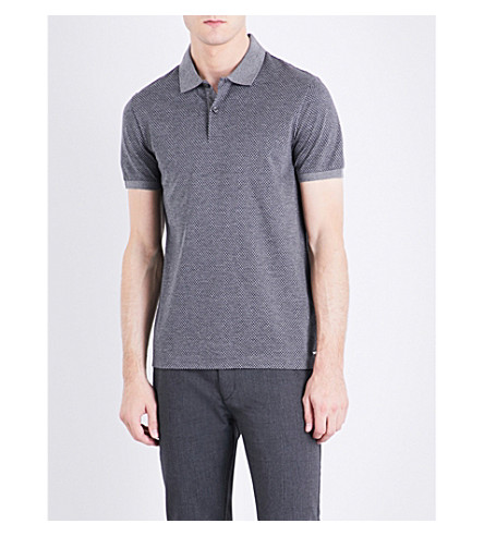 BOSS Checked slim-fit cotton polo shirt (Medium+grey