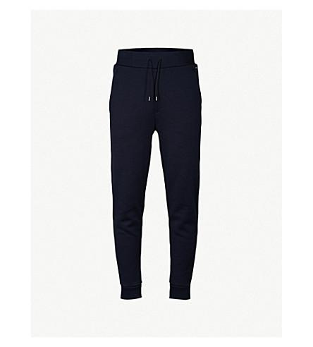 HUGO 细针织平纹针织棉慢跑裤 (海军