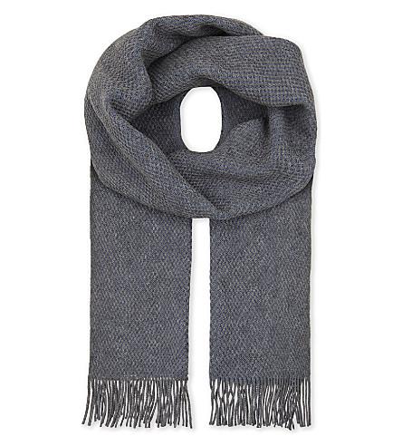 BOSS BLACK Virgin wool scarf (Open+blue