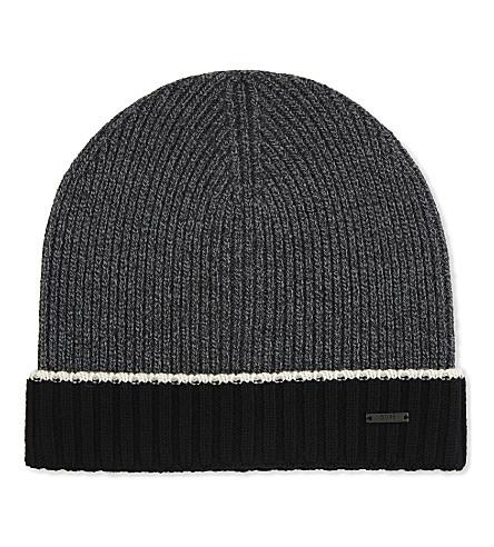 BOSS Knitted virgin wool beanie (Black