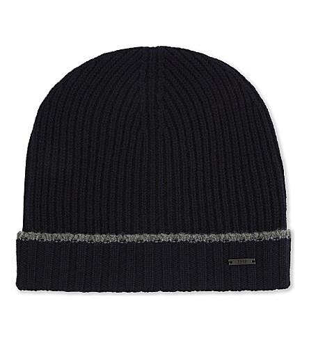 BOSS BLACK Knitted virgin wool beanie (Navy