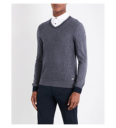 BOSS ORANGE V-neck knitted jumper (Dark+blue