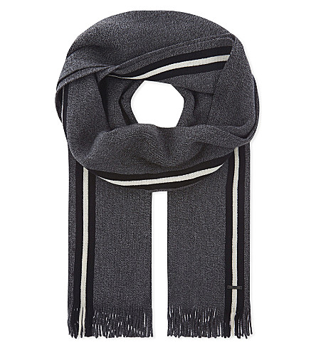 BOSS Mouliné virgin wool scarf (Black
