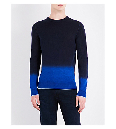 BOSS Ombré wool-blend jumper (Navy