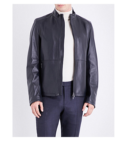 BOSS Stand-collar leather jacket (Navy