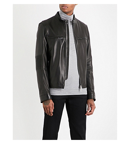 BOSS Ribbed-detail leather jacket (Black