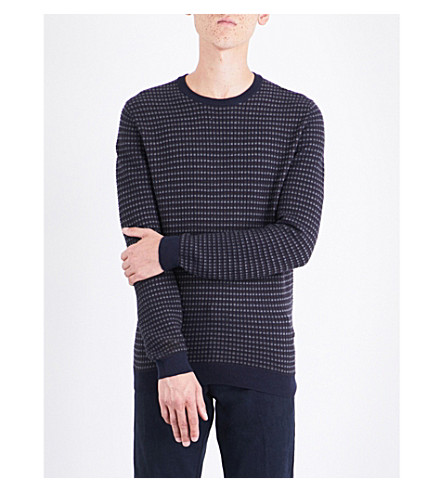 BOSS Waffle-knit cotton and cashmere-blend jumper (Navy