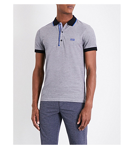 BOSS Two-tone cotton-piqué polo shirt (Black