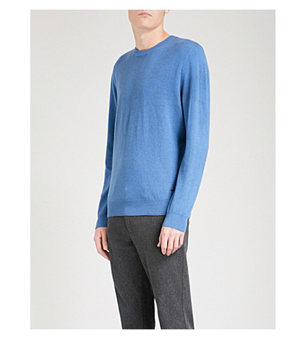 BOSS Crewneck wool jumper (Open+blue