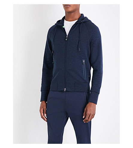 BOSS GREEN Pocket-detailed jersey hoody (Navy