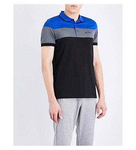 BOSS Sport cotton-blend polo shirt (Medium+blue