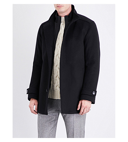 BOSS Zip-insert wool and cashmere-blend coat (Black