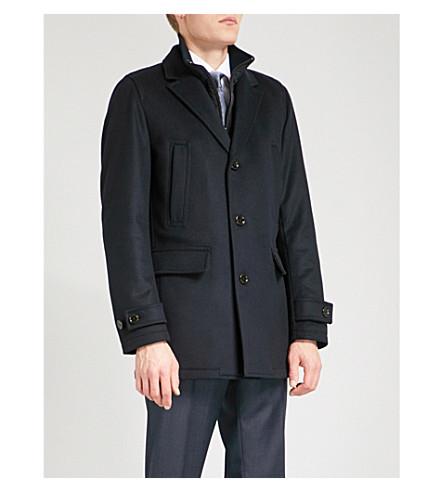 BOSS Notch-lapels wool and cashmere-blend down jacket (Dark+blue