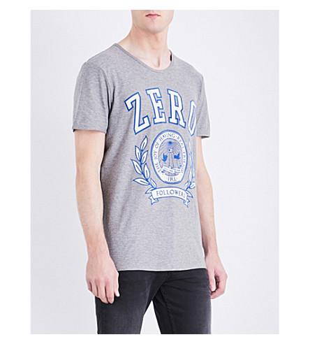BOSS Flocked-print cotton-jersey T-shirt (Light/pastel+grey
