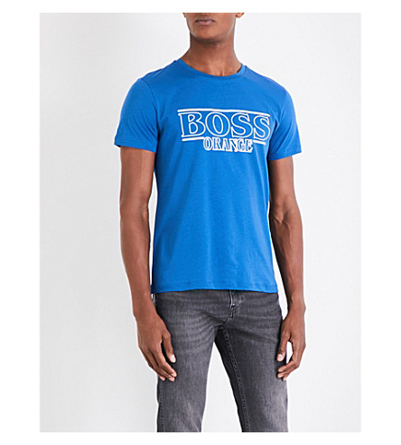 BOSS ORANGE Logo-print cotton-jersey T-shirt (Medium+blue