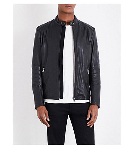 BOSS Biker-panelled leather jacket (Black