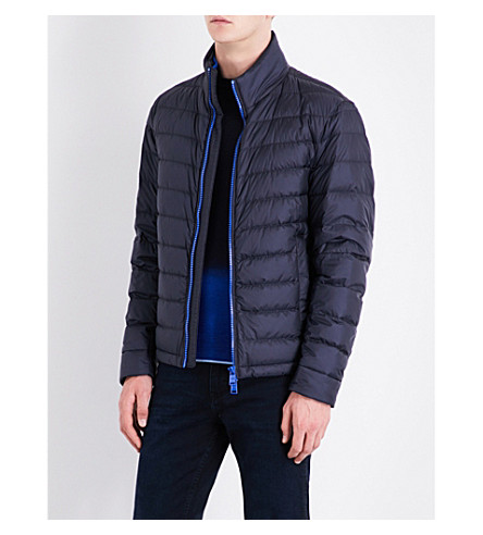 BOSS Zip-up quilted jacket (Navy