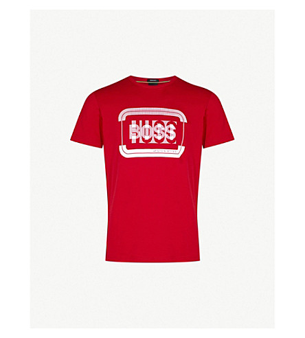 BOSS GREEN Logo-print cotton T-shirt (Medium+red