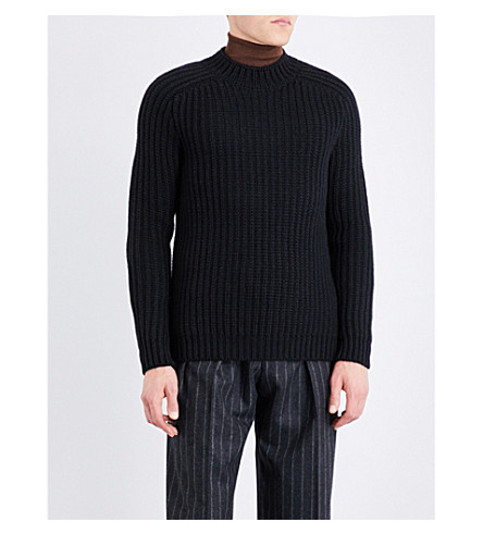 BOSS Wool and alpaca-blend jumper (Black