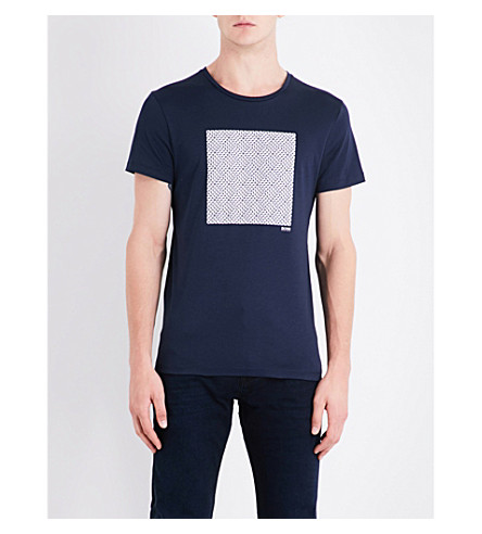 BOSS Geo-print cotton-jersey T-shirt (Navy