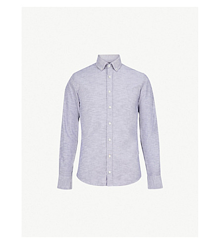 BOSS Boss Orange slim-fit cotton shirt (Dark+blue