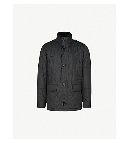 BOSS Funnel-collar quilted cotton-blend coat (Black