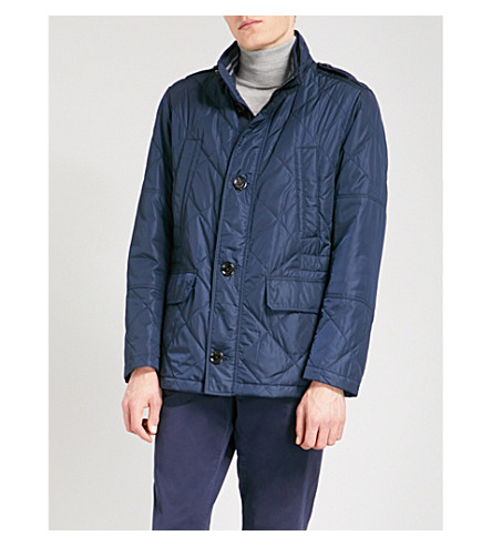 BOSS Funnel-collar quilted cotton-blend coat (Navy