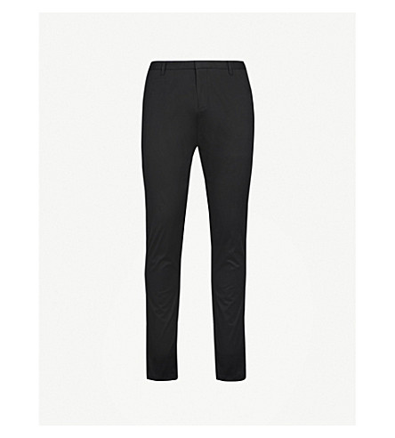 HUGO Slim-fit tapered stretch-cotton trousers (Black