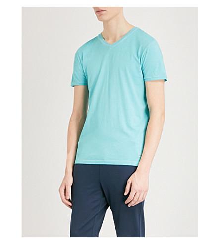 BOSS ORANGE V-neck cotton-jersey T-shirt (Turquoise/aqua