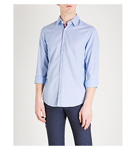 BOSS Square pattern slim-fit cotton shirt (Medium+blue