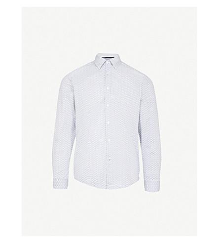 BOSS 花卉花纹修身版型棉衬衫 (天然