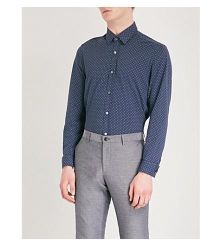 BOSS Polka-dot relaxed-fit cotton-piqué shirt (Navy