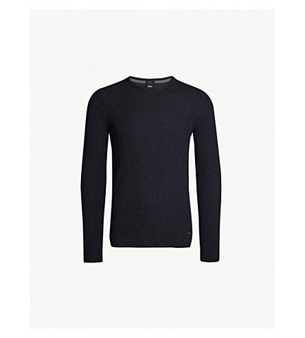 BOSS Crewneck cotton-jersey top (Dark+blue
