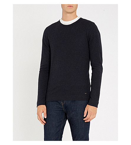 BOSS Crewneck cotton-jersey top (Dark+blue