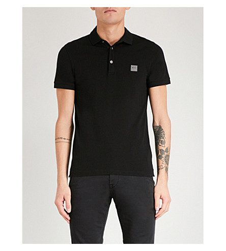 BOSS Logo-embroidered cotton-piqué polo shirt (Black