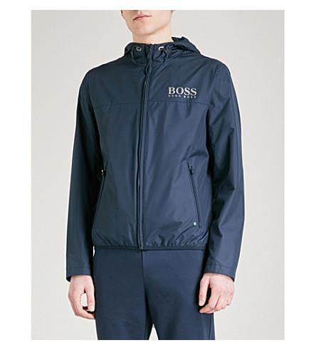 BOSS GREEN Logo-print hooded shell jacket (Navy