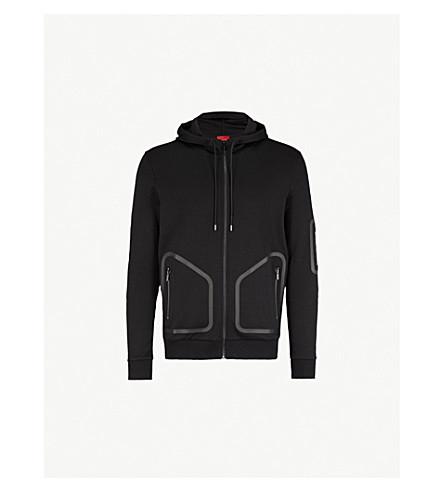 HUGO Contrast-trim cotton-jersey hoody (Black