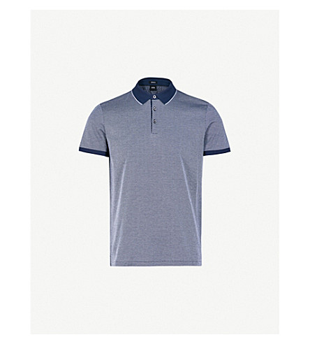 BOSS Patterned cotton-piqué polo shirt (Navy