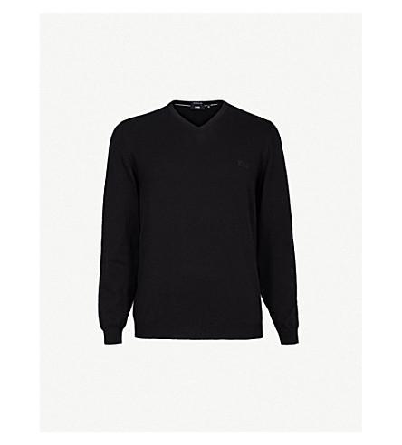BOSS V-neck knitted wool jumper (Black