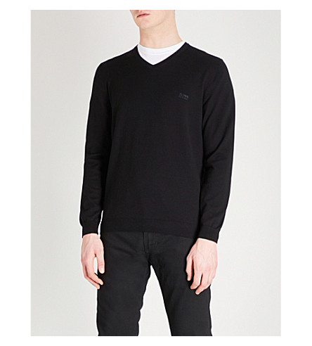 BOSS V-neck knitted wool jumper (Black