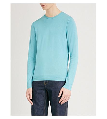 BOSS ORANGE Crewneck cotton-blend jumper (Turquoise/aqua