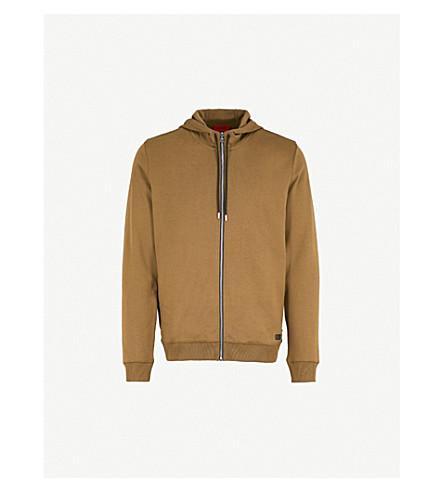 HUGO Zip-up cotton-jersey hoody (Dark+green