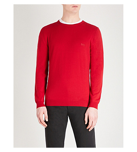 BOSS Logo-embroidered knitted wool jumper (Bright+red
