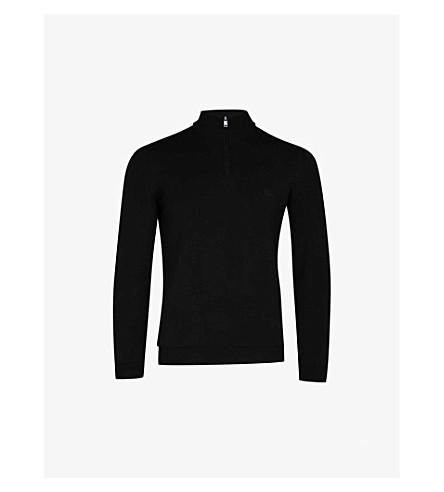 BOSS Half-zip cotton jumper (Black