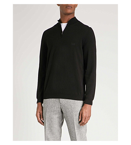 BOSS Half-zip cotton jumper (Black